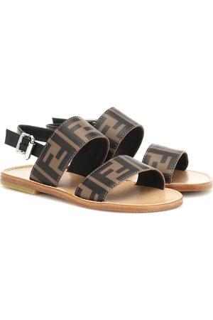 Fendi Logo leather sandals