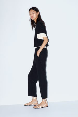 Zara Broek met contrasterende tailleband