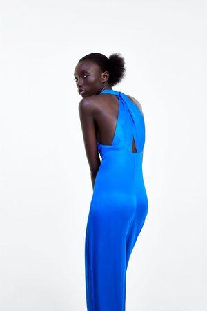 Zara Soepelvallende zijdeachtige jumpsuit