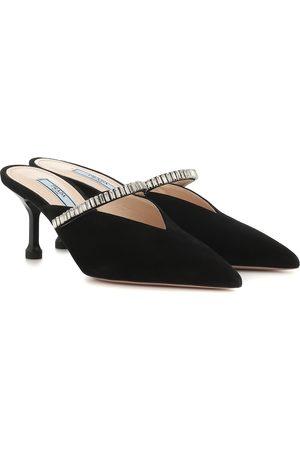 Prada Dames Clogs - Crystal-embellished suede mules