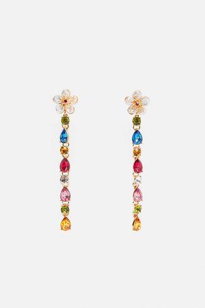 Zara Oorbellen met bloem en echte parels