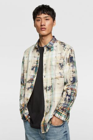 Zara Heren Denim - Geruit tie-dye overhemd