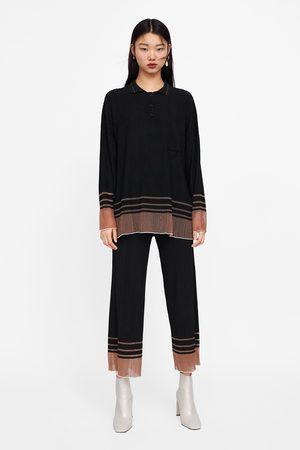 Zara Contrast hem textured trousers