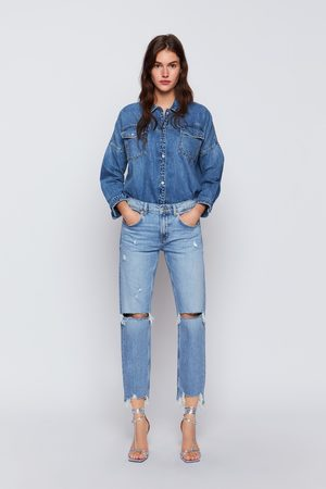 Zara Dames Baggy & Boyfriend - Jeans zw premium slim boyfriend beach blue