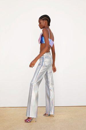 Zara Denim jeans met wijde pijpen en iriserend effect