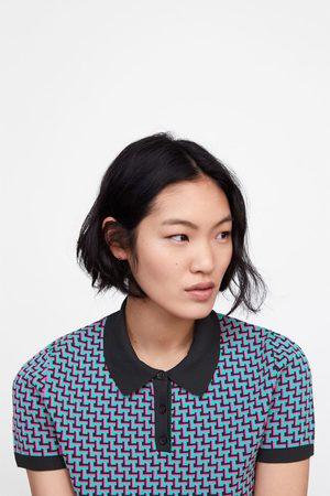 Zara Tricot polo met geometrisch jacquard