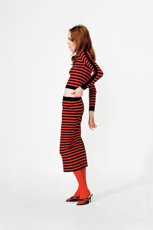 Zara Gestreepte trui met strook opzij
