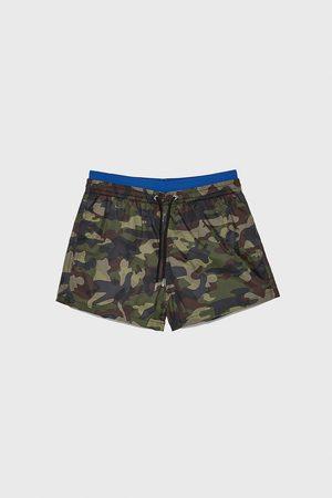 Zara Zwemshort met camouflageprint en gecombineerde tailleband