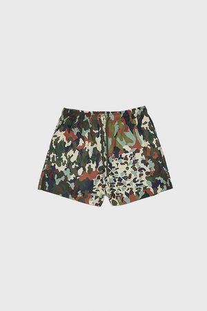 Zara Zwemshort met patchwork camouflageprint