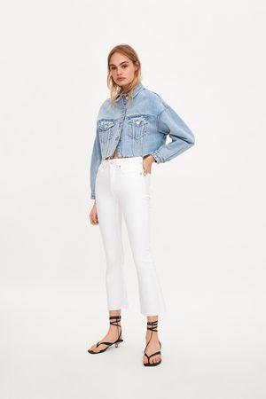Zara Dames Bootcut - Cropped jeans met mid-rise en wijd uitlopende pijpen