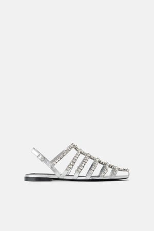 Zara Dames Sandalen - Platte sandalen met siersteentjes