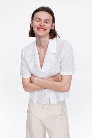 Zara Geborduurde blouse met volant