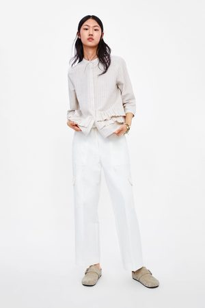 Zara Gestreepte blouse met ruches