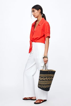 Zara Cropped blouse met knoopaccent