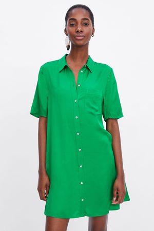 Zara Lange satijnen blouse met zak