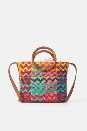 Zara Veelkleurige shopper met houten hengsels