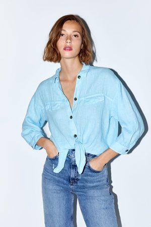 Zara Linnen overhemd met knoop