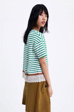 Zara Gestreept t-shirt met kant
