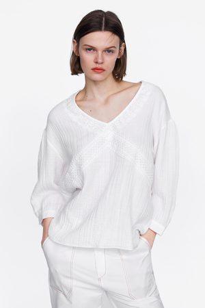Zara Katoenen blouse met kant