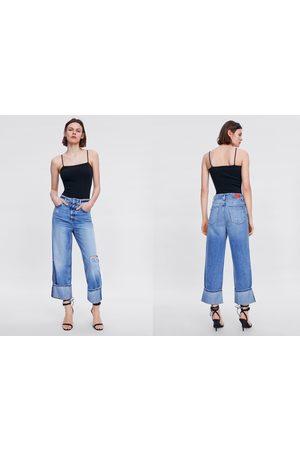Zara Jeans z1975 wide leg met scheuren