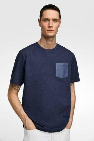 Zara Indigoblauw t-shirt met borstzakje
