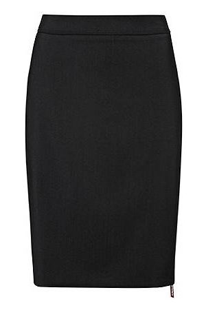 HUGO BOSS Dames Kokerrokken - Slim-fit rok van lichtgekamde stretchwol