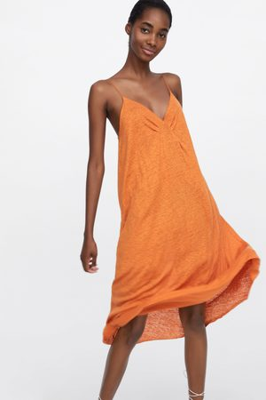 Zara Linnen jurk met schouderbandjes
