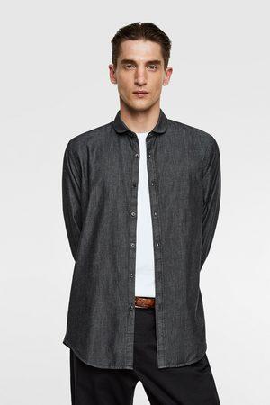 Zara Denim blouse met platte kraag