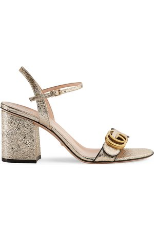 Gucci Metallic laminate leather mid-heel sandal