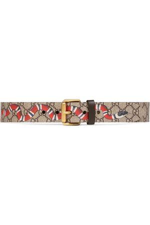 Gucci Heren Riemen - GG Supreme belt with Kingsnake print