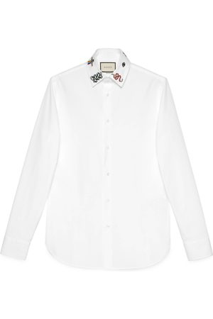 Gucci Heren Shirts - Cotton shirt with symbols