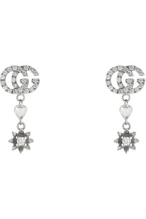 Gucci Flower and Double G earrings with diamonds