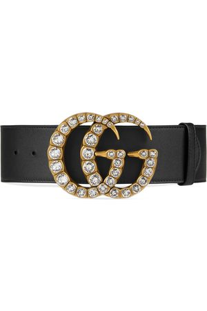 Gucci Dames Riemen - Leather belt with crystal Double G buckle