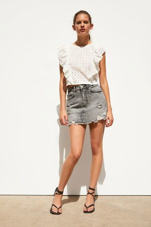 Zara Dames Korte & Mini rokken - Ripped denim mini skirt