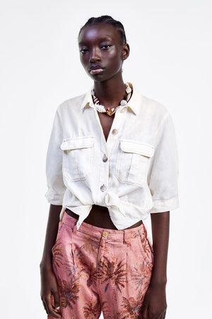 Zara Rustiek overhemd met sierstiksels