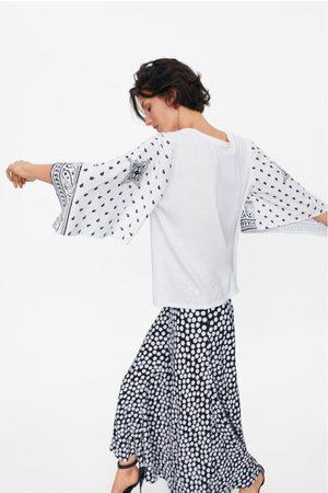 Zara T-shirt met gecombineerde mouwen