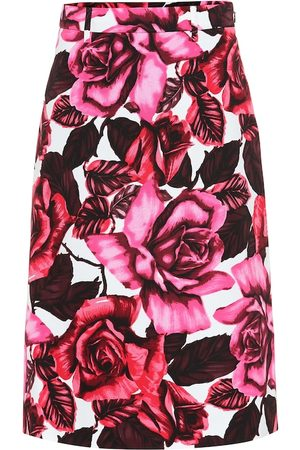 Prada Floral cotton-poplin skirt
