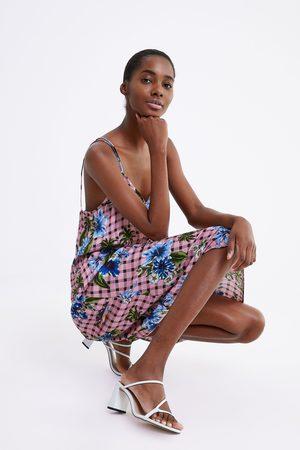 Zara Geruite jurk met bloemenprint