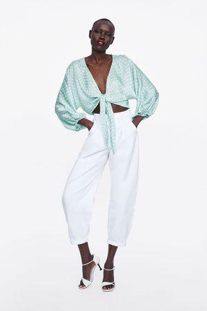 Zara Gestipte jacquard top met knoopaccent