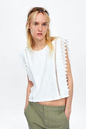 Zara Kort t-shirt met zijden kant