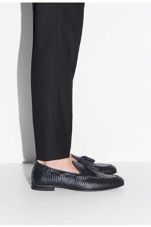 Zara Zwarte mocassins met vlechtwerk
