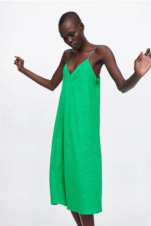 Zara Dames Zomerjurken - Linnen jurk met schouderbandjes