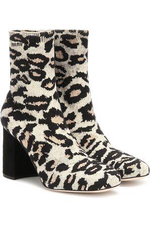Miu Miu Leopard-print jacquard ankle boots