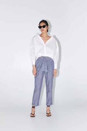 Zara Katoenen broek met knoopceintuur