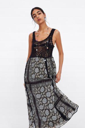 Zara Dames Jurken - Bedrukte jurk van metaalgaren