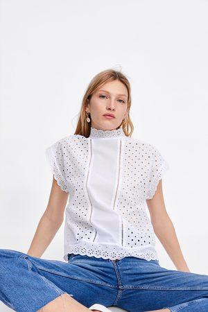 Zara Top met opengewerkte borduursels