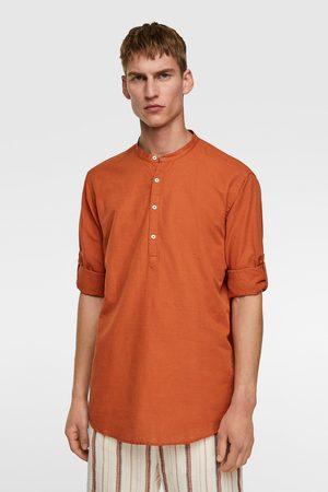 Zara Heren Overhemden - Rustiek overhemd met mouwophouders