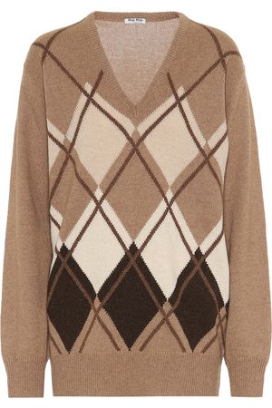 Miu Miu Argyle camel-wool sweater