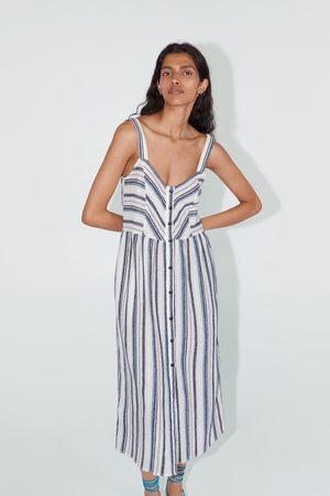 Zara Gestreepte jurk met schouderbandjes