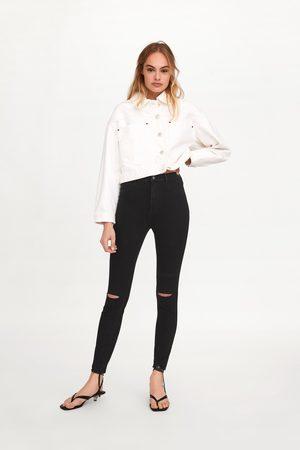 Zara Dames Stretchbroeken - Jegging met hi-rise, extra stretch en scheuren